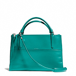 COACH THE POLISHED CALFSKIN BOROUGH BAG - SILVER/TEAL - F28165