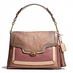 COACH MADISON PINNACLE COLORBLOCK EXOTIC LEATHER LARGE SHOULDER FLAP - LIGHT GOLD/BROWN/ROUGE - F28167