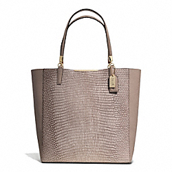 COACH MADISON LIZARD EMBOSSED LEATHER NORTH/SOUTH BONDED TOTE - LIGHT GOLD/FAWN - F28171