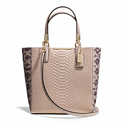 COACH MADISON PYTHON EMBOSSED MINI NORTH/SOUTH BONDED TOTE - LIGHT GOLD/BLUSH - F28173