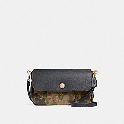 REVERSIBLE CROSSBODY WITH CAMO ROSE FLORAL PRINT - LIGHT GOLD/KHAKI - COACH F28188