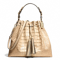 COACH MADISON CROC EMBOSSED PINNACLE LARGE DRAWSTRING SHOULDER BAG - LIGHT GOLD/BUFF - F28214