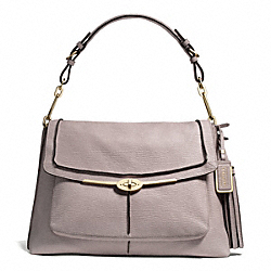 COACH MADISON PINNACLE TEXTURED LEATHER LARGE SHOULDER FLAP - LIGHT GOLD/GREY BIRCH - F28219