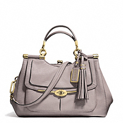 COACH MADISON PINNACLE TEXTURED LEATHER CARRIE SATCHEL - LIGHT GOLD/GREY BIRCH - F28220
