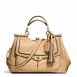 COACH MADISON PINNACLE TEXTURED LEATHER CARRIE SATCHEL - LIGHT GOLD/TAN - F28220