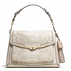 MADISON PYTHON EMBOSSED LEATHER PINNACLE SHOULDER FLAP BAG - f28221 - LIGHT GOLD/PARCHMENT