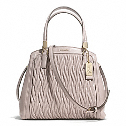 COACH MADISON GATHERED TWIST LEATHER MINETTA CROSSBODY - LIGHT GOLD/GREY BIRCH - F28250