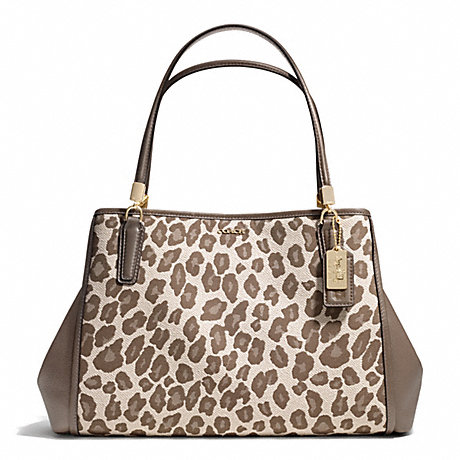 COACH f28256 MADISON OCELOT JACQUARD CAFE CARRYALL LIGHT GOLD/CHESTNUT