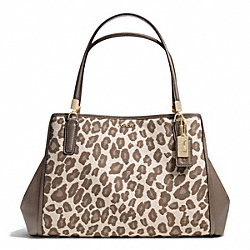 COACH MADISON OCELOT JACQUARD CAFE CARRYALL - LIGHT GOLD/CHESTNUT - F28256