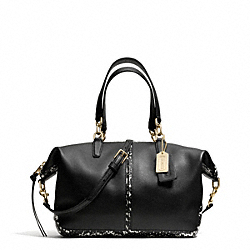 COACH BLEECKER TWO TONE PYTHON EMBOSSED LEATHER SMALL COOPER SATCHEL - GOLD/BLACK - F28259