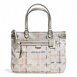 COACH DAISY 24CM SIGNATURE TATTERSALL EMMA TOTE - ONE COLOR - F28281