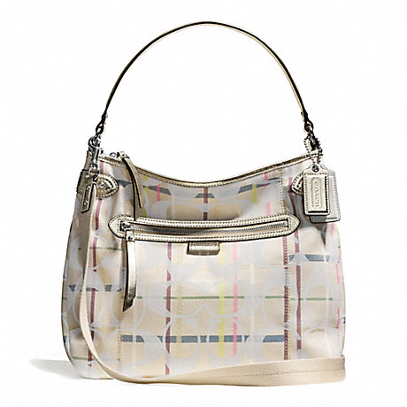 COACH DAISY 24CM SIGNATURE TATTERSALL CONVERTIBLE HOBO -  - f28284