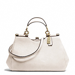COACH MADISON LEATHER CARRIE SATCHEL - LIGHT GOLD/PARCHMENT - F28288