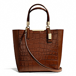 COACH MADISON CROC EMBOSSED MINI NORTH/SOUTH BONDED TOTE - LIGHT GOLD/COGNAC - F28291