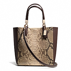 COACH MADISON PYTHON EMBOSSED LEATHER MINI NORTH/SOUTH BONDED TOTE - LIGHT GOLD/BROWN MULTI - F28292