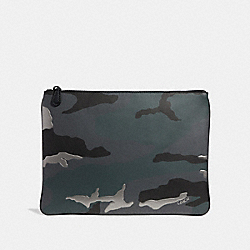 LARGE POUCH WITH METALLIC CAMO PRINT - GREY MULTI - COACH F28298