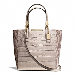 COACH MADISON  OCELOT FABRIC MINI NORTH/SOUTH BONDED TOTE - LIGHT GOLD/MULTICOLOR - F28301