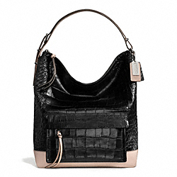 BLEECKER PINNACLE CROC LEATHER HOBO - f28304 - SILVER/BLACK