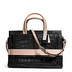 COACH BLEECKER MATTE CROC EMBOSSED PINNACLE CARRYALL - SILVER/BLACK - F28305