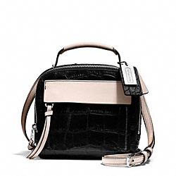 BLEECKER PINNACLE MATTE CROC EMBOSSED LEATHER CROSSBODY - f28307 - SILVER/BLACK