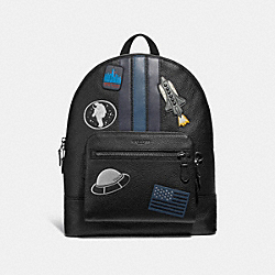 WEST BACKPACK WITH VARSITY STRIPE AND SPACE PATCHES - ANTIQUE NICKEL/BLACK MULTI - COACH F28313