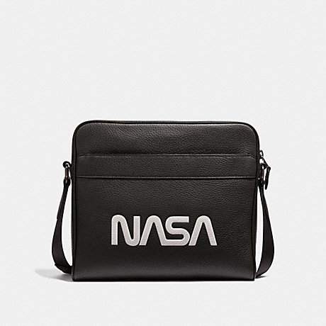 COACH CHARLES CAMERA BAG WITH SPACE MOTIF - ANTIQUE NICKEL/BLACK - f28319