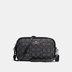 BOXED SADIE CROSSBODY CLUTCH IN SIGNATURE JACQUARD - BLACK SMOKE/BLACK/SILVER - COACH F28325
