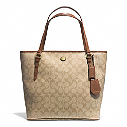 COACH PEYTON SIGNATURE ZIP TOP TOTE - BRASS/LIGHT KHAKI/SADDLE - F28365