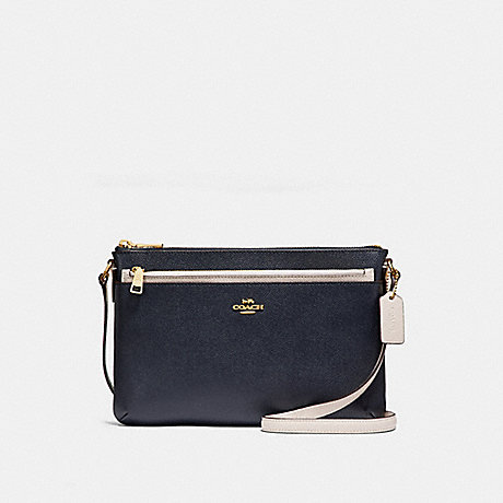 COACH f28382 EAST/WEST CROSSBODY WITH POP-UP POUCH IN COLORBLOCK MIDNIGHT/CHALK/Light Gold