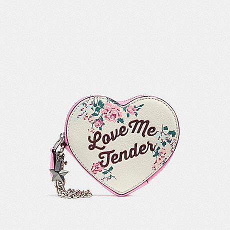 COACH LOVE ME TENDER HEART COIN CASE - SILVER/CHALK MULTI - f28454