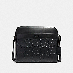 COACH CHARLES CAMERA BAG IN SIGNATURE LEATHER - ANTIQUE NICKEL/BLACK - F28455