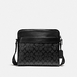 COACH CHARLES CAMERA BAG IN SIGNATURE CANVAS - CHARCOAL/BLACK/BLACK ANTIQUE NICKEL - F28456
