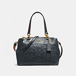 COACH MINI BROOKE CARRYALL IN SIGNATURE LEATHER - MIDNIGHT/LIGHT GOLD - F28472