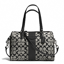 COACH SIGNATURE STRIPE 12CM NANCY SATCHEL - SILVER/BLACK/WHITE/BLACK - F28505