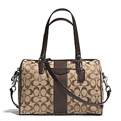 COACH SIGNATURE STRIPE 12CM NANCY SATCHEL - SILVER/KHAKI/MAHOGANY - F28505