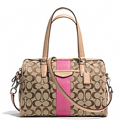 COACH SIGNATURE STRIPE 12CM NANCY SATCHEL - SILVER/KHAKI/PINK - F28505