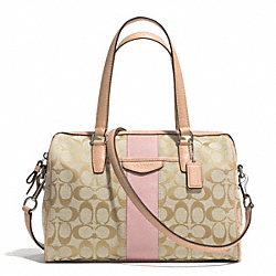 SIGNATURE STRIPE NANCY SATCHEL - f28505 - SILVER/LIGHT KHAKI/SHELL PINK