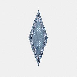 COACH FLORAL PRINT SILK DIAMOND SCARF - CORNFLOWER/JASMINE - COACH F28560