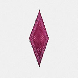 COACH FLORAL PRINT SILK DIAMOND SCARF - DARK FUCHSIA - COACH F28560