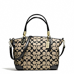 COACH PRINTED SIGNATURE FABRIC SMALL KELSEY SATCHEL - LIGHT GOLD/KHAKI BLACK - F28562