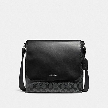 COACH CHARLES SMALL MESSENGER - NICKEL/CHARCOAL/BLACK - f28575