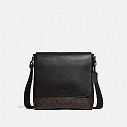 CHARLES SMALL MESSENGER IN SIGNATURE CANVAS - MAHOGANY/BLACK/BLACK ANTIQUE NICKEL - COACH F28575