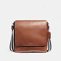 COACH CHARLES SMALL MESSENGER - NICKEL/SADDLE - F28576