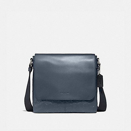 COACH CHARLES SMALL MESSENGER IN SIGNATURE LEATHER - Midnight Navy/NICKEL - f28577