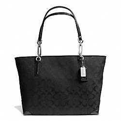 COACH MADISON SIGNATURE FABRIC EAST/WEST TOTE - SILVER/BLACK/BLACK - F28601
