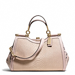 COACH MADISON PINNACLE PYTHON EMBOSSED LEATHER CARRIE SATCHEL - LIGHT GOLD/BLUSH - F28608