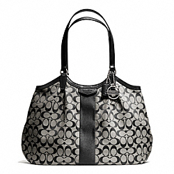 COACH SIGNATURE STRIPE 12CM SHOULDER BAG - SILVER/BLACK/WHITE/BLACK - F28623