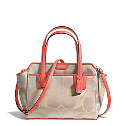 COACH TAYLOR SIGNATURE BETTE MINI TOTE CROSSBODY - SILVER/LIGHT KHAKI/CORAL - F28641