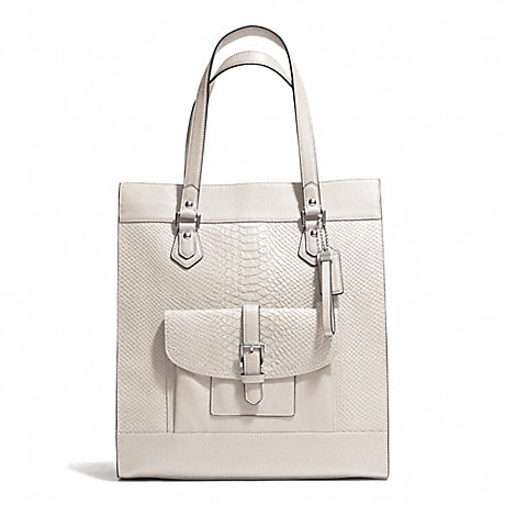 COACH f28723 CHARLIE PYTHON TOTE  SILVER/PARCHMENT