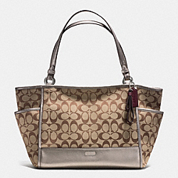 COACH PARK SIGNATURE CARRIE TOTE - SILVER/KHAKI/PEWTER - F28728